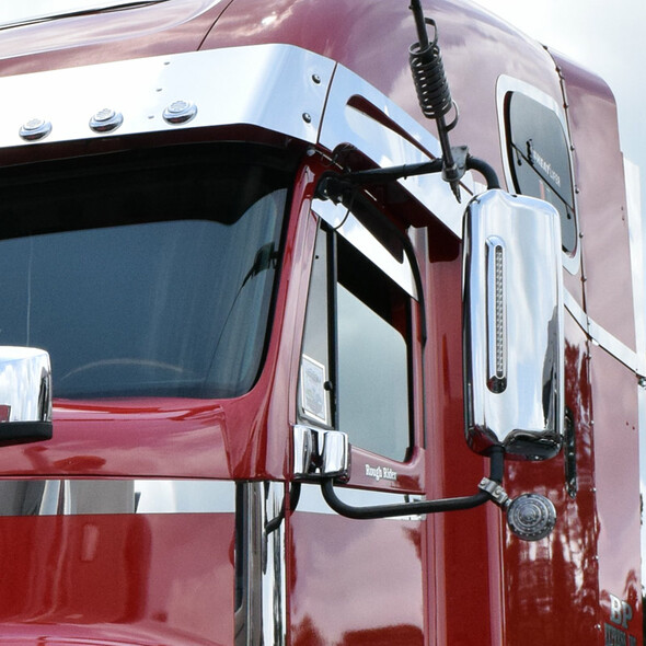 Freightliner Chrome Mirror Cover with LED Light Bar On Truck