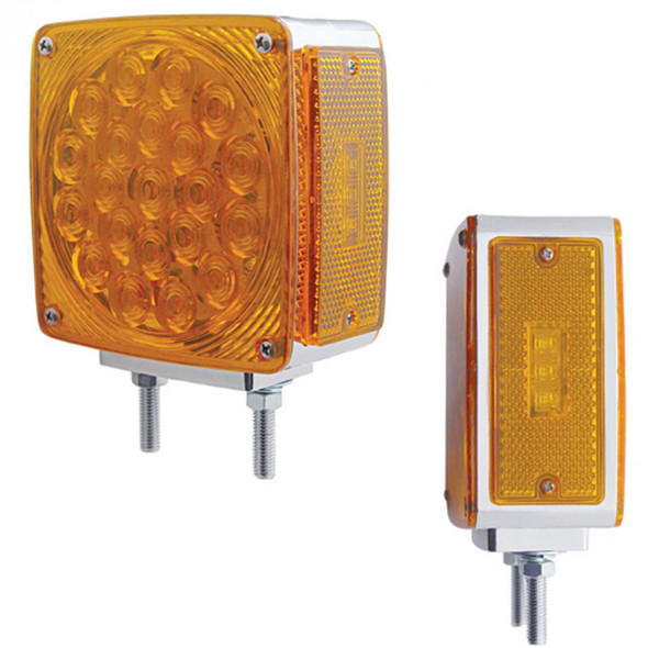 45 LED Square Double Face Turn Signal Light With Side LED - Amber