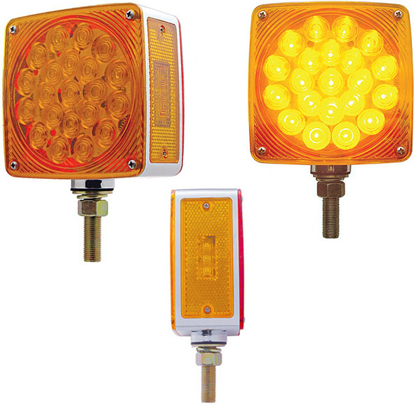 45 LED Square Double Face Turn Signal Light With Side LED - Amber Front Red Rear