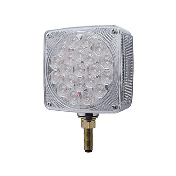 45 LED Square Double Face Turn Signal Light With Side LED - Clear Lens