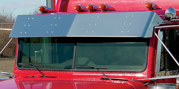 """Freightliner Classic FLD 13.5"""" Flat Top Visor With Cab Mounted Mirrors"""