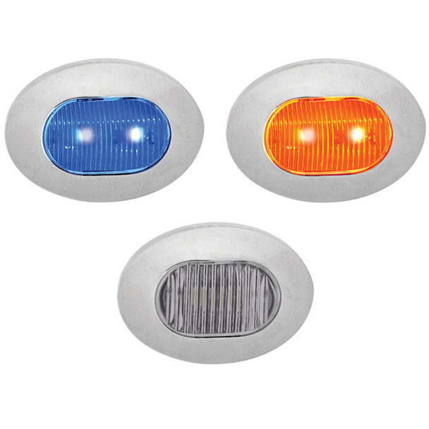 Mini Oval Button Dual Revolution Amber And Blue LED Marker Light