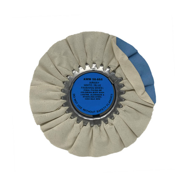 Zephyr White/Blue Final Finish Or Color Airway Buffing Wheel