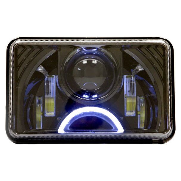 Black 6x4 LED Projection Headlights W/ Half Moon Daytime Running Light Lit