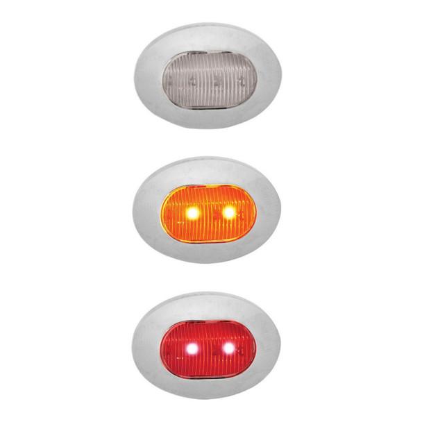 Mini Oval Button Dual Revolution Amber & Red LED Marker Light Diagram