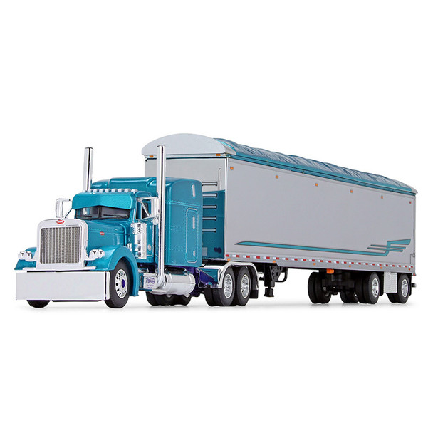 Pyskaty Bros. Trucking #34 Peterbilt Model 379 Sleeper With Trailer 1/64 Scale - Front Side View