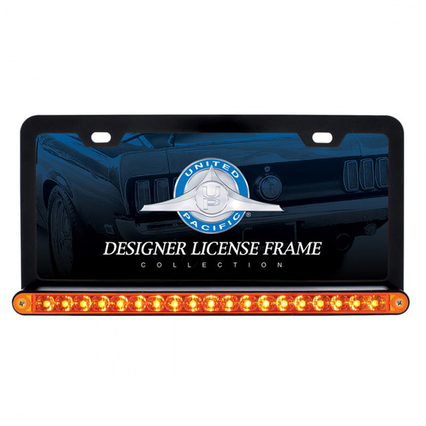"Black Universal License Plate Frame With 19 LED 12"" Reflector Light Bar - Amber/Amber"