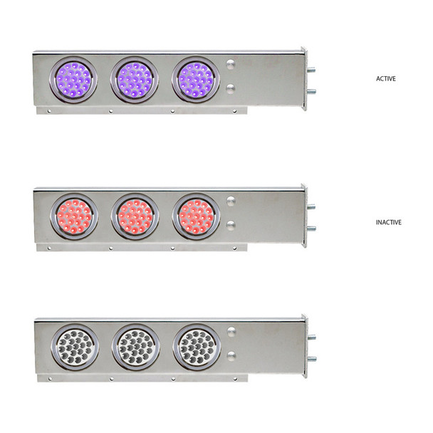 """Mud Flap Hangers With Purple/Red Dual Revolution LED Lights 2 1/2"""" Bolt Spacing"""