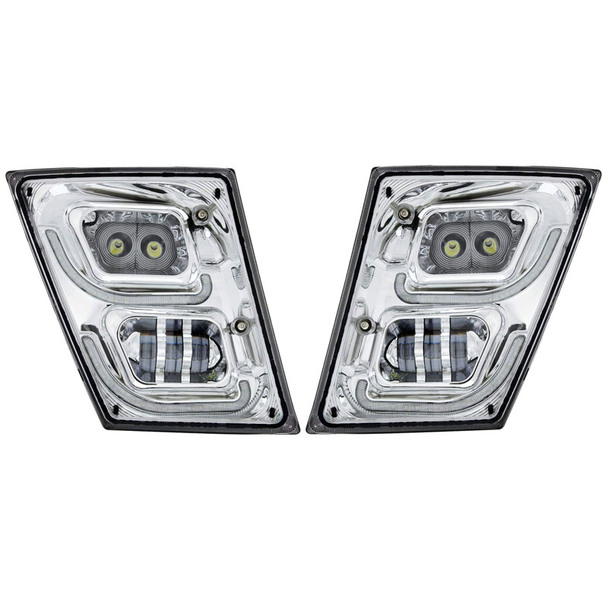 Volvo VN VNL High Power Full LED Chrome Fog Light With Daytime And Position Light Both