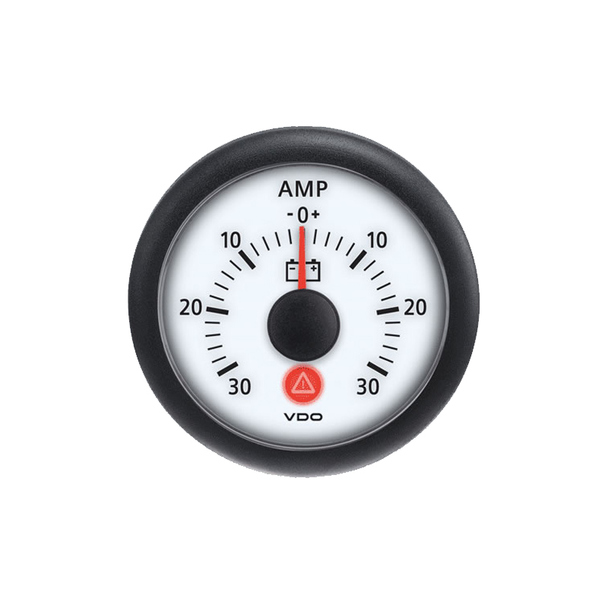 Semi Truck Analog Ammeter Gauge Viewline Ivory - 30 Amps