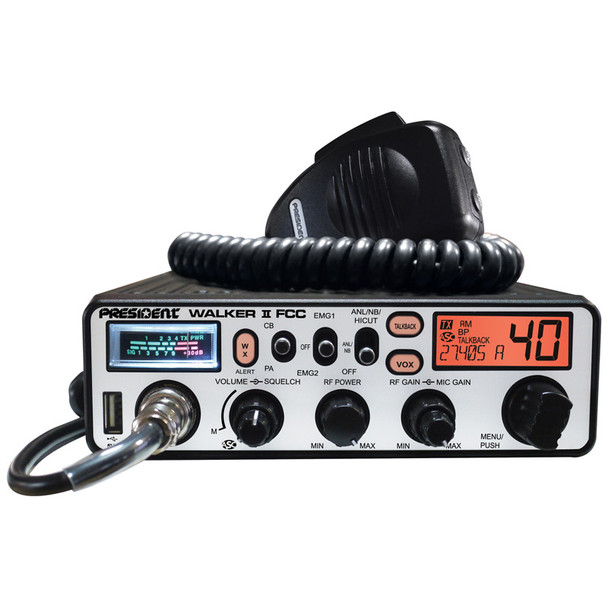 Walker II FCC 40 Channel CB Radio With Weather Alerts And SWR Meter - Orange