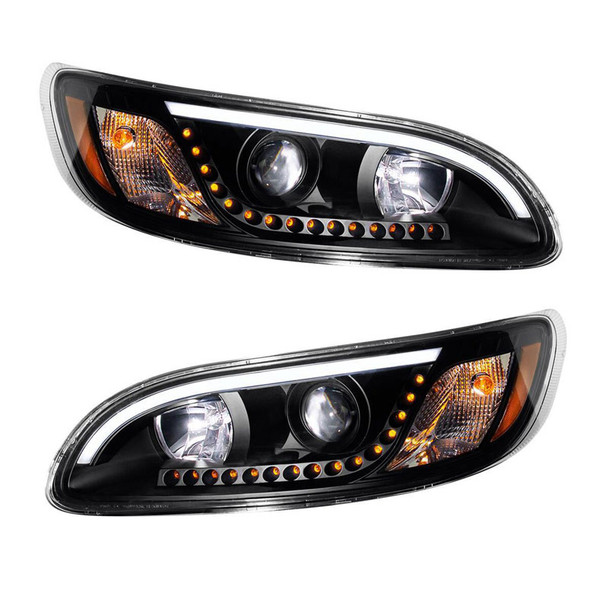 Peterbilt 386 387 330 335 382 384 Blackout Headlight With White LED DRL And Turn Signal - Halogen