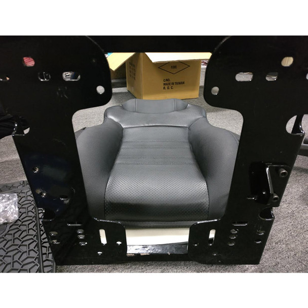 Economy High Back Diamond Pattern Leather Truck Seat With Lumbar Support - L Bracket