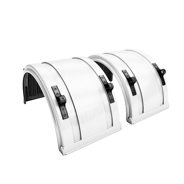 """White Spray Master Poly Truck Fenders For 22.5"""" Or 24.5"""" Wheels"""