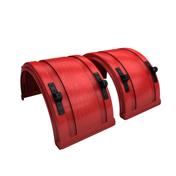 """Red Spray Master Poly Truck Fenders For 22.5"""" Or 24.5"""" Wheels"""