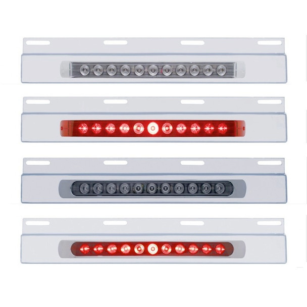 """Stainless Top Mud Flap Light Bracket With 11 LED 17"""" Light Bar"""