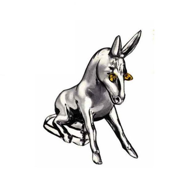 Chrome Donkey With Illuminating Eyes Hood Ornament Facing Left