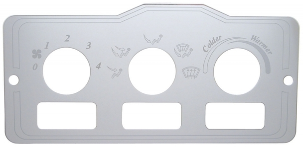 Peterbilt Stainless Steel AC Control Plate 3 Square Openings