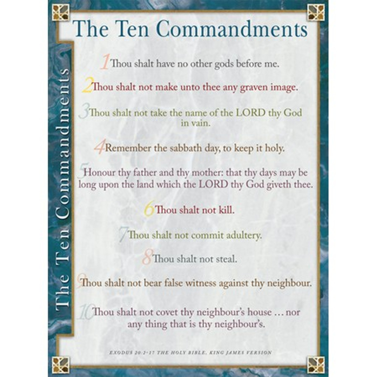 image about 10 Commandments Poster Printable titled 10 Commandments KJV Wall Chart - Laminated