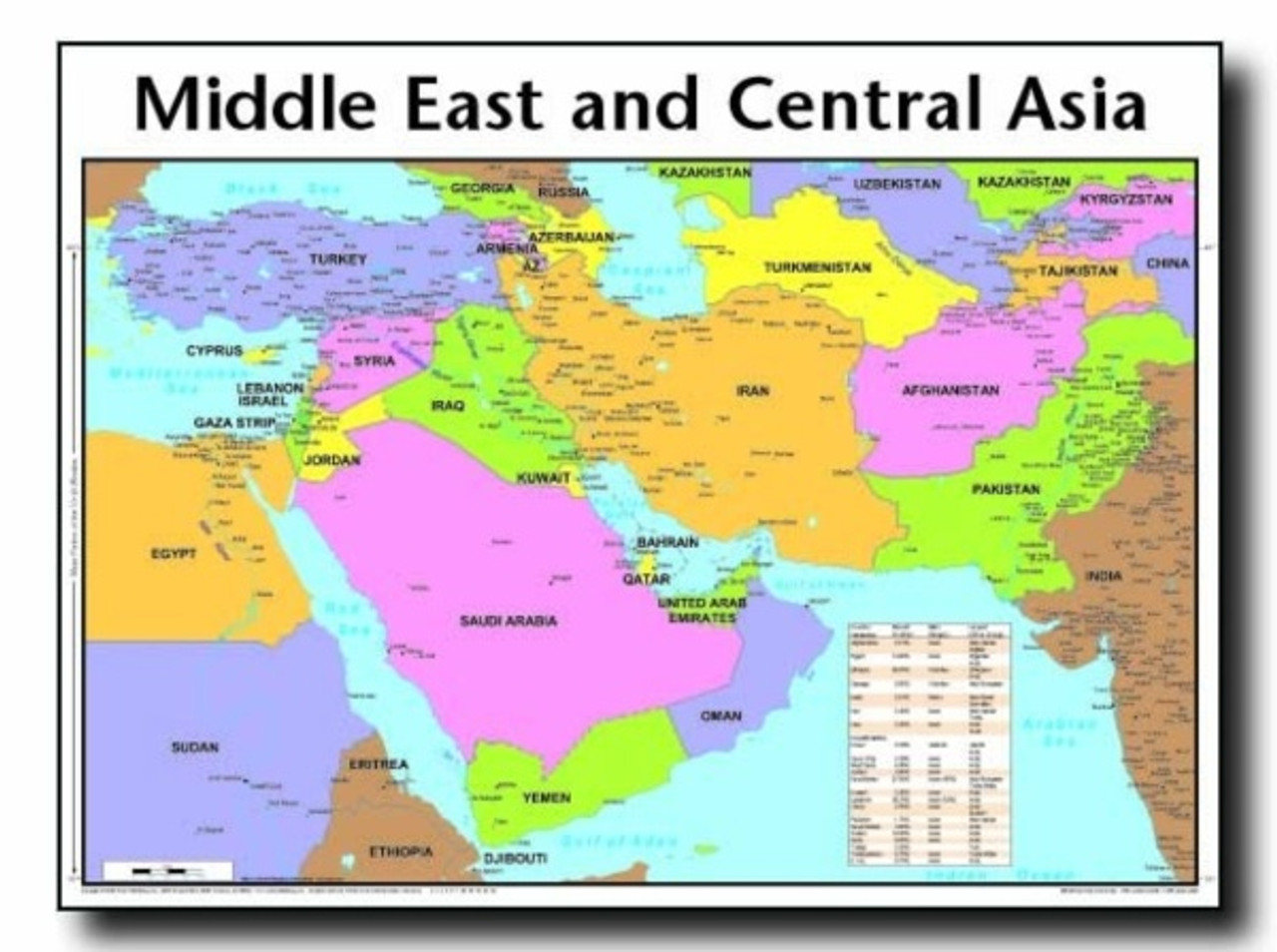 Map Of Asia And Middle East.Middle East And Central Asia Map Wall Chart Laminated