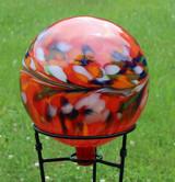 "Glass Gazing Ball ""Circus Red"" 12 Inch Iridized"