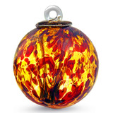 "Witch Ball ""Garnet Red & Gold Topaz"" 4 Inch"