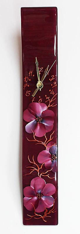 "Arciform Billet Clock ""Blossoms Red"""