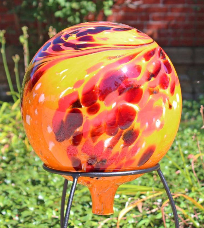 Over Opal Orange Gazing Ball