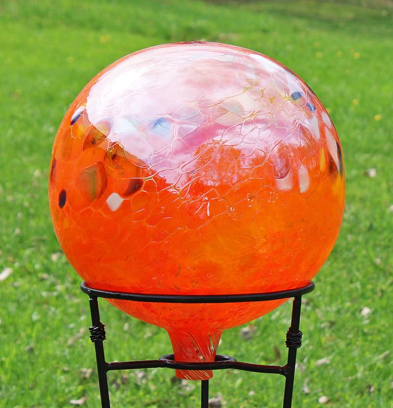 "Glass Gazing Ball ""Circus Orange"" 12 Inch Iridized"