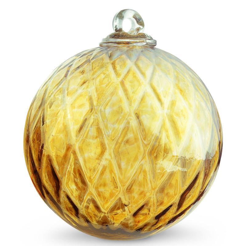 Diamond Optic Friendship Ball, Amber Iridized (6 inch)