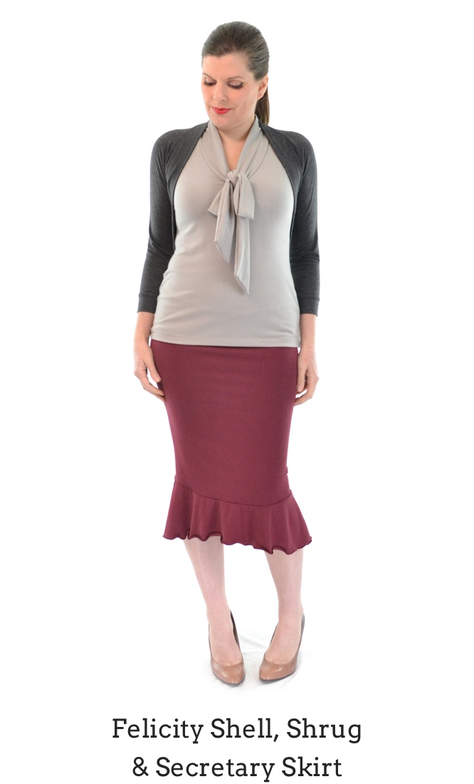 Felicity Shell in Fog, Secretary Skirt in Rosewood, Shrug in Granite