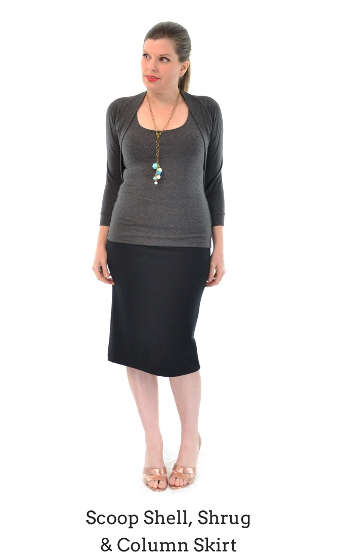 Scoop Shell in Granite, Column Skirt in Black, Shrug in Granite