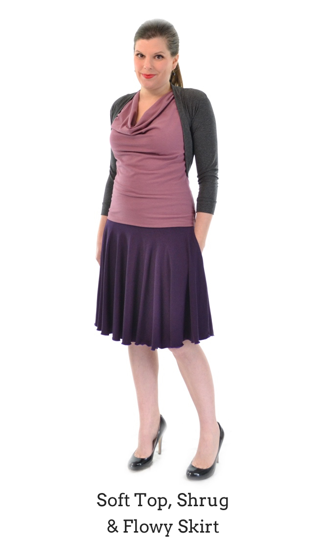 Soft Top in Clay, Flowy Skirt in Plum, Shrug in Granite