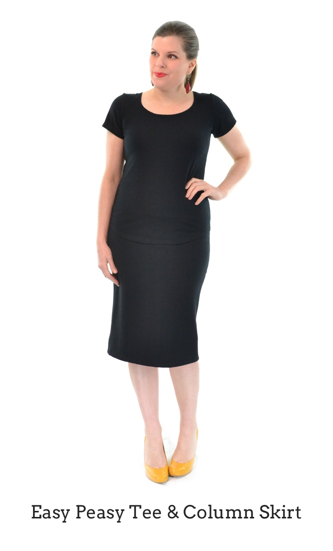 Easy Peasy Tee in Black, Column Skirt in Black
