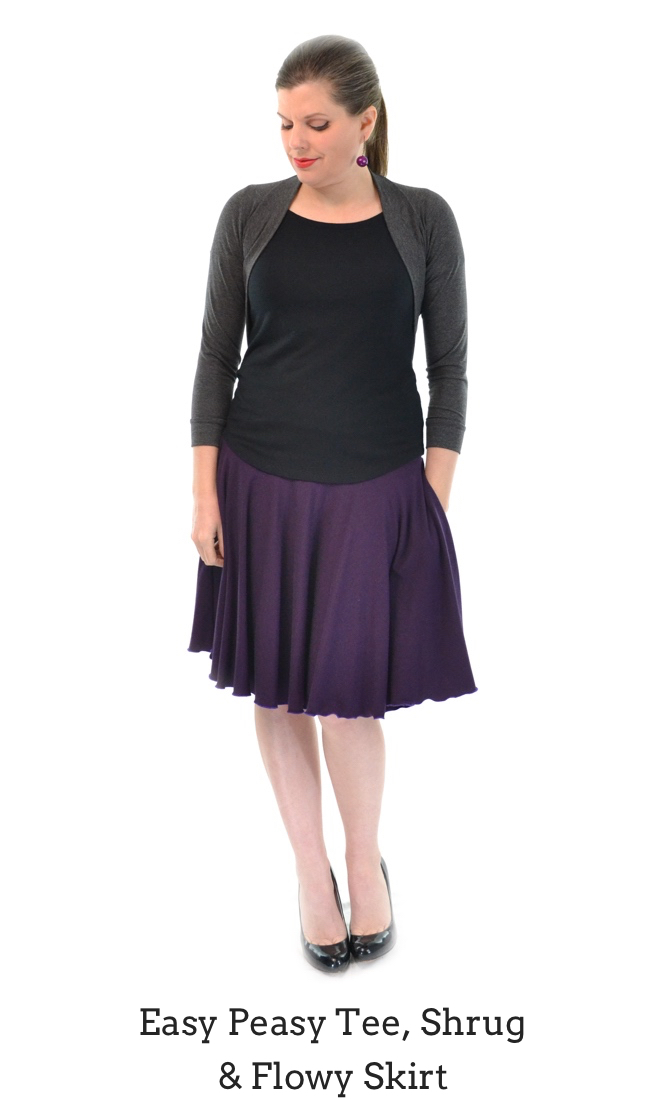 Easy Peasy Tee in Black, Flowy Skirt in Plum, Shrug in Granite