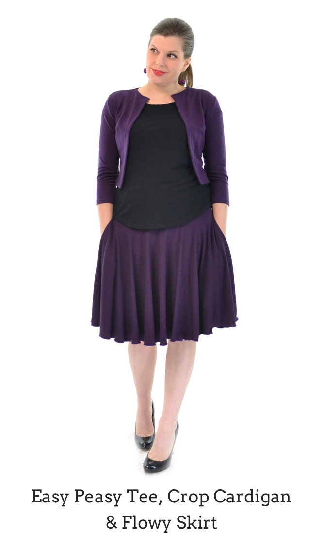 Easy Peasy Tee in Black, Flowy Skirt in Plum, Crop Cardigan in Plum