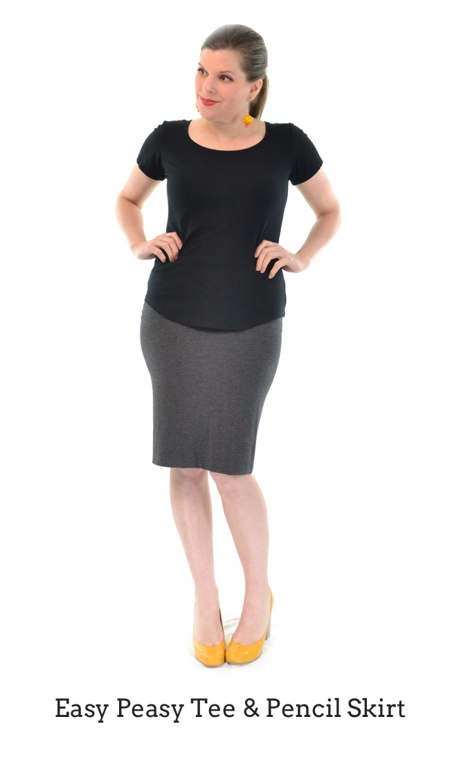 Easy Peasy Tee in Black, Pencil Skirt in Granite