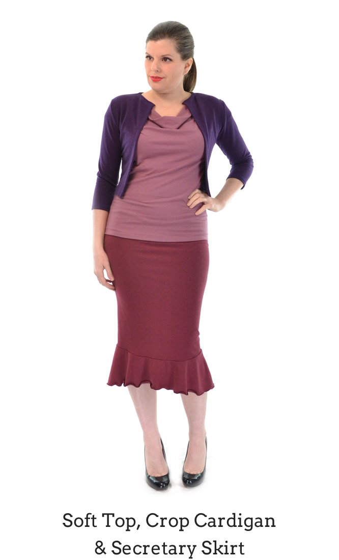 Soft Top in Clay, Secretary Skirt in Rosewood, Crop Cardigan in Plum