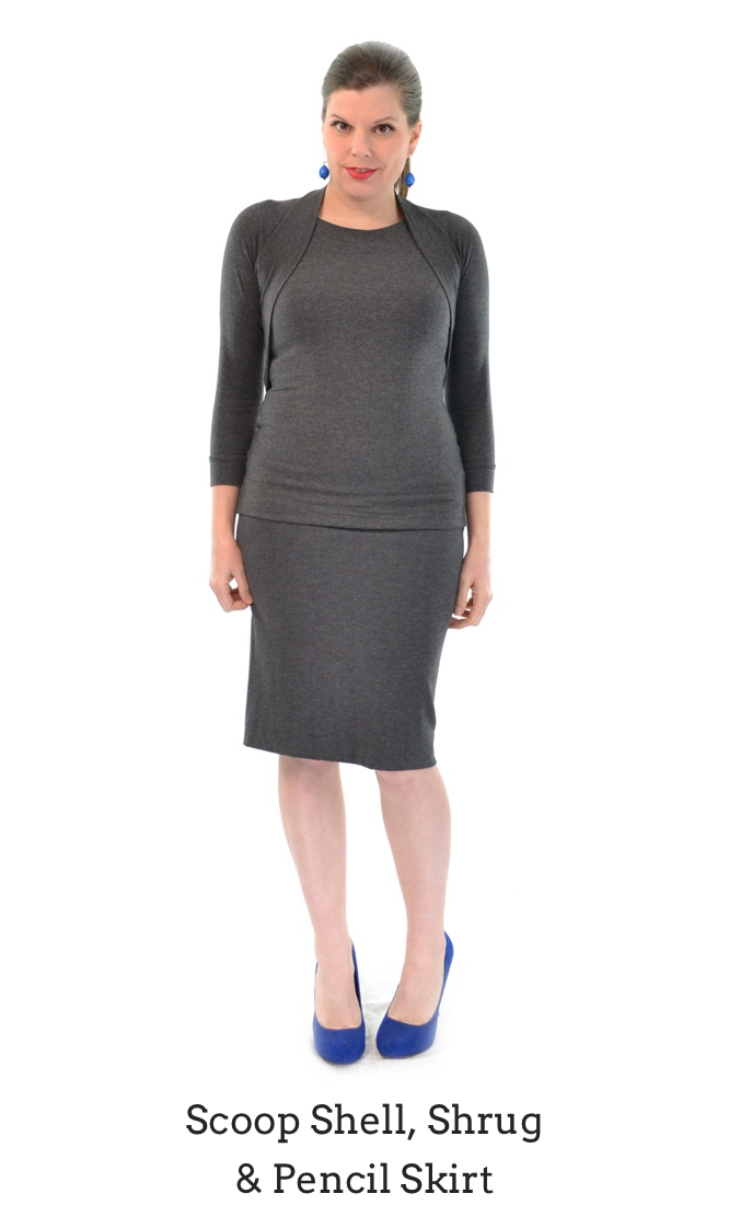 Scoop Shell, Shrug & Pencil Skirt