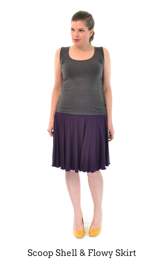 Scoop Shell in Granite, Flowy Skirt in Plum