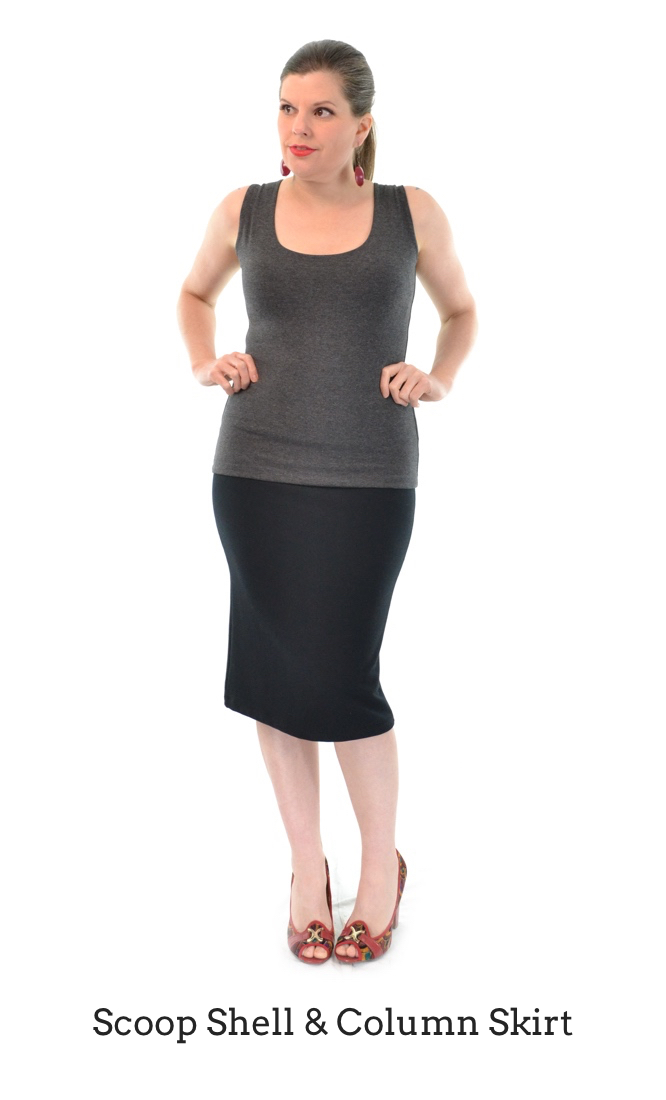 Scoop Shell in Granite, Column Skirt in Black