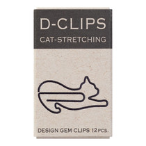 Midori D-Clip, Cat Paper Clips, Cat Stretching, 12pcs, Black