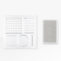 The Appointed Acrylic Planning Stamp Set comes with a dark grey ink stamp pad
