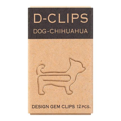 Midori D-Clip, Dog Paper Clips, Chihuahua, 12pcs, Gold