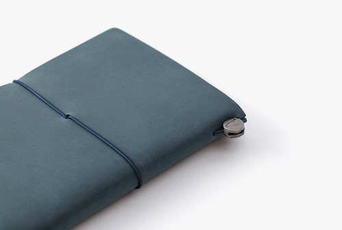 Passport Sized Traveler's Notebook in Blue   Blue Leather Cover and Starter Kit
