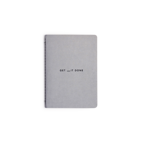 The grey cover of the MiGoals A6 Get __it Done notebook.