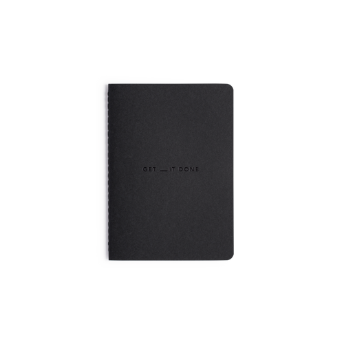 The black cover of the MiGoals A6 Get __it Done notebook. Also available in Grey.