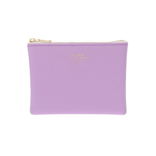 The lovely Quitterie Zip Pouch in  light purple. Small and wallet sized, this is a super handy pouch in a stunning spring colour.