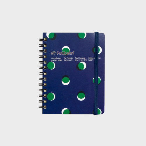 Delfonics Rollbahn Notebook, Medium, Le Lin Collection, Dark Blue & Green Dots