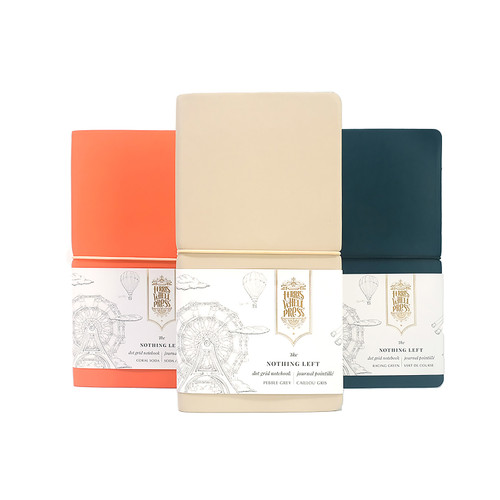 Coral Soda, Pebble Grey and Racing Green colours of the Ferris Wheel Press Nothing left Notebook